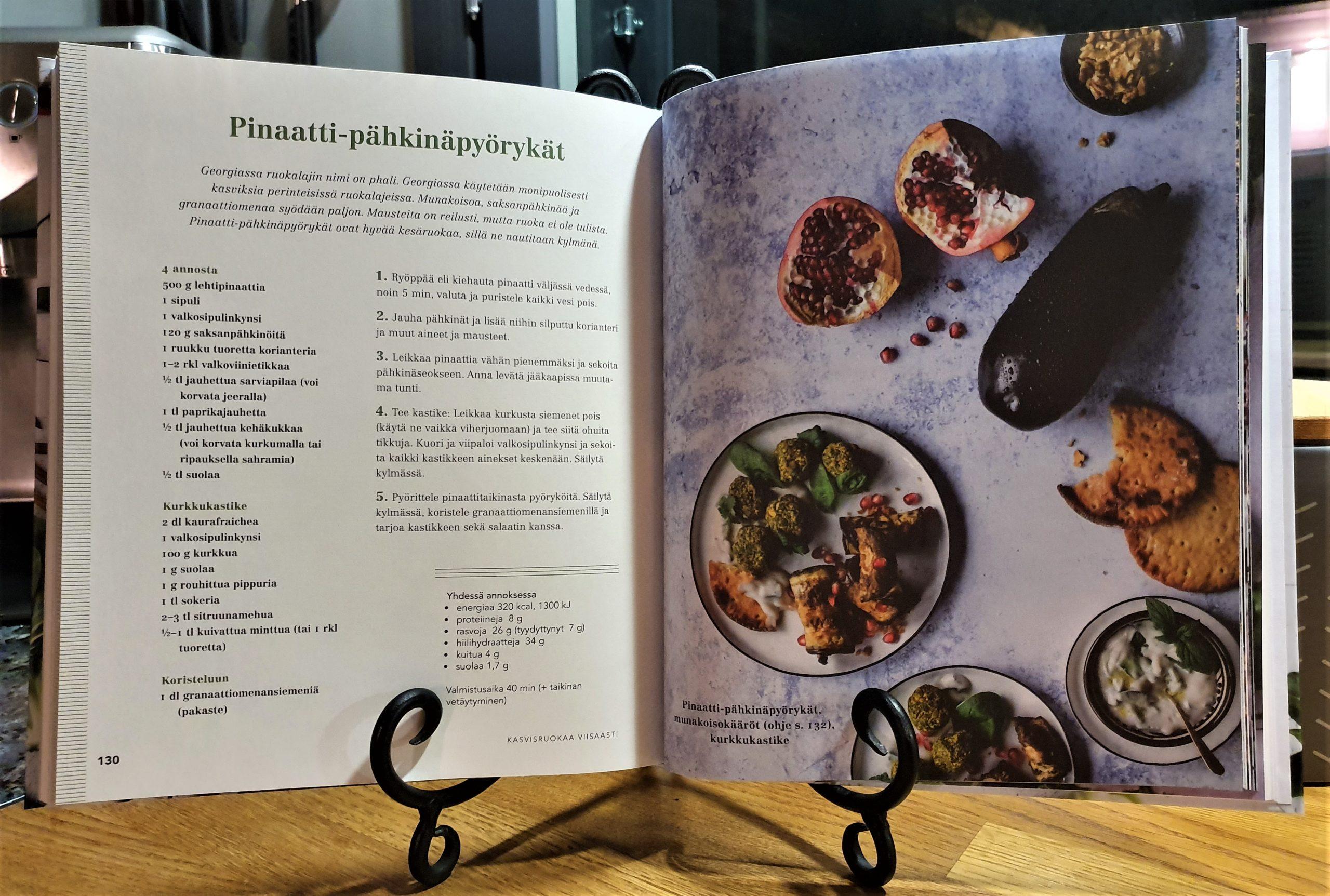 Pinaatti-pähkinäpyöryköiden ohje kirjasta Kasvisruokaa viisaasti